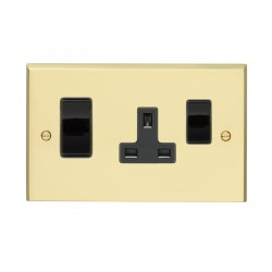 Eurolite Victorian Polished Brass 2 Gang 45amp DP Switch and Socket with Black Insert