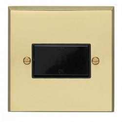 Eurolite Victorian Polished Brass 1 Gang Triple Pole Fan Isolator Switch with Black Insert