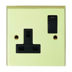 Eurolite Victorian Polished Brass 1 Gang 13amp DP Switched Socket with Black Insert