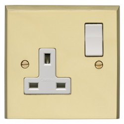 Eurolite Victorian Polished Brass 1 Gang 13amp DP Switched Socket with White Insert