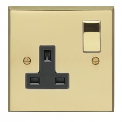 Eurolite Victorian Polished Brass 1 Gang 13amp DP Switched Socket with Matching Rocker and Black Insert