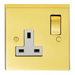 Eurolite Victorian Polished Brass 1 Gang 13amp DP Switched Socket with Matching Rocker and White Insert