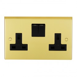 Eurolite Victorian Polished Brass 2 Gang 13amp DP Switched Socket with Black Insert