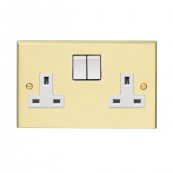 Eurolite Victorian Polished Brass 2 Gang 13amp DP Switched Socket with White Insert