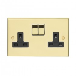 Eurolite Victorian Polished Brass 2 Gang 13amp DP Switched Socket with Matching Rocker and Black Insert