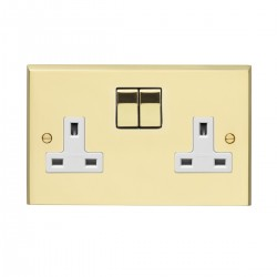 Eurolite Victorian Polished Brass 2 Gang 13amp DP Switched Socket with Matching Rocker and White Insert