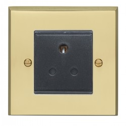 Eurolite Victorian Polished Brass 1 Gang 5amp Unswitched Socket with Black Insert