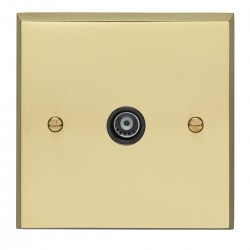 Eurolite Victorian Polished Brass 1 Gang TV Outlet with Black Insert