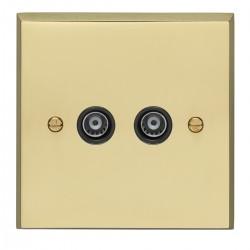 Eurolite Victorian Polished Brass 2 Gang TV Outlet with Black Insert