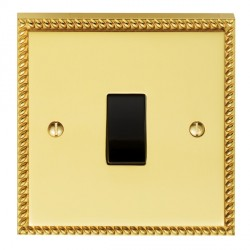 Eurolite Georgian Polished Brass 1 Gang 10amp 2way Switch with Black Insert