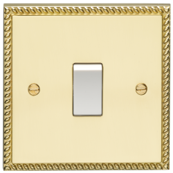 Eurolite Georgian Polished Brass 1 Gang 10amp 2way Switch with White Insert