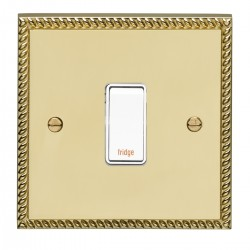 Eurolite Georgian Polished Brass 1 Gang 20amp DP Engraved Appliance Switch with White Insert