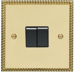 Eurolite Georgian Polished Brass 2 Gang 10amp 2way Switch with Black Insert