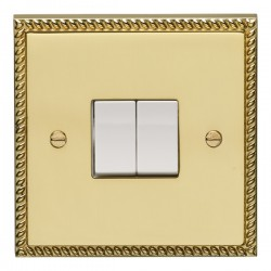 Eurolite Georgian Polished Brass 2 Gang 10amp 2way Switch with White Insert