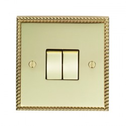 Eurolite Georgian Polished Brass 2 Gang 10amp 2way Switch with Matching Insert