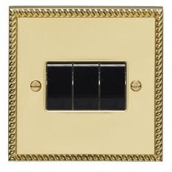 Eurolite Georgian Polished Brass 3 Gang 10amp 2way Switch with Black Insert