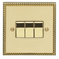 Eurolite Georgian Polished Brass 3 Gang 10amp 2way Switch with Matching Insert