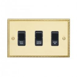 Eurolite Georgian Polished Brass 3 Gang 20amp DP Engraved Appliance Switch with Black Insert