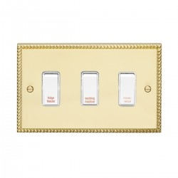 Eurolite Georgian Polished Brass 3 Gang 20amp DP Engraved Appliance Switch with White Insert