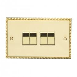 Eurolite Georgian Polished Brass 4 Gang 10amp 2way Switch with Matching Insert