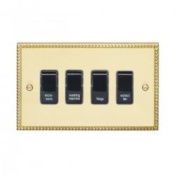 Eurolite Georgian Polished Brass 4 Gang 20amp DP Engraved Appliance Switch with Black Insert