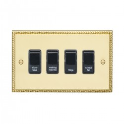 Eurolite Georgian Polished Brass 4 Gang 20amp DP Engraved Appliance Switch with White Insert
