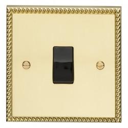 Eurolite Georgian Polished Brass 1 Gang Intermediate Switch with Black Insert