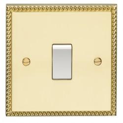 Eurolite Georgian Polished Brass 1 Gang Intermediate Switch with White Insert