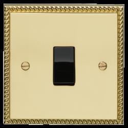 Eurolite Georgian Polished Brass 1 Gang 20amp DP Switch with Black Insert