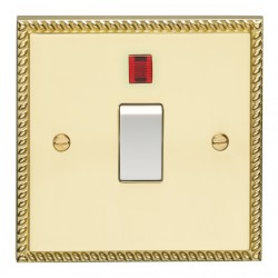 Eurolite Georgian Polished Brass 1 Gang 20amp DP Switch and Neon with White Insert