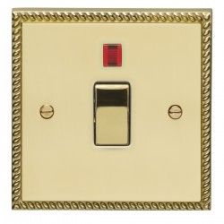 Eurolite Georgian Polished Brass 1 Gang 20amp DP Switch and Neon with Matching Insert