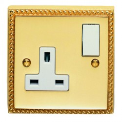 Eurolite Georgian Polished Brass 1 Gang 13amp DP Switched Socket with White Insert