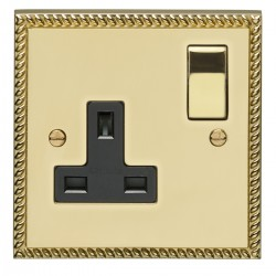 Eurolite Georgian Polished Brass 1 Gang 13amp DP Switched Socket with Matching Rocker and Black Insert