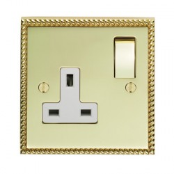 Eurolite Georgian Polished Brass 1 Gang 13amp DP Switched Socket with Matching Rocker and White Insert