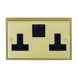 Eurolite Georgian Polished Brass 2 Gang 13amp DP Switched Socket with Black Insert