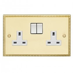 Eurolite Georgian Polished Brass 2 Gang 13amp DP Switched Socket with White Insert