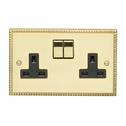 Eurolite Georgian Polished Brass 2 Gang 13amp DP Switched Socket with Matching Rocker and Black Insert