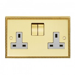 Eurolite Georgian Polished Brass 2 Gang 13amp DP Switched Socket with Matching Rocker and White Insert