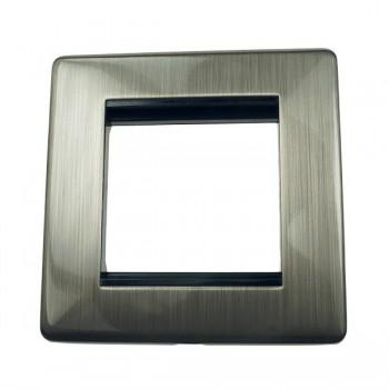 Eurolite Grid Satin Nickel Concealed Fix Black Module Frame Single Plate with Black Insert