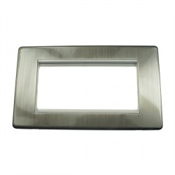 Eurolite Grid Satin Nickel Concealed Fix White Module Frame Double Plate with White Insert