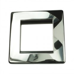 Eurolite Grid Polished Chrome Concealed Fix Black Module Frame Single Plate with Black Insert