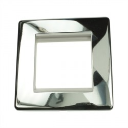 Eurolite Grid Polished Chrome Concealed Fix White Module Frame Single Plate with White Insert