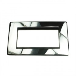Eurolite Grid Polished Chrome Concealed Fix Black Module Frame Double Plate with Black Insert