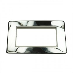 Eurolite Grid Polished Chrome Concealed Fix White Module Frame Double Plate with White Insert