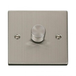 Click Deco Victorian Stainless Steel Single 400W Dimmer Switch