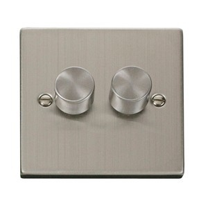 Click Deco Victorian Stainless Steel Double 400W Dimmer Switch