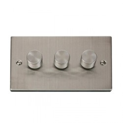 Click Deco Victorian Stainless Steel 3 Gang 400W Dimmer Switch