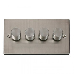 Click Deco Victorian Stainless Steel 4 Gang 400W Dimmer Switch