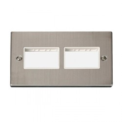 Click Deco Victorian Stainless Steel Double 3x3 Aperture Plate