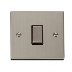Click Deco Victorian Stainless Steel Single 10A Switch with Black Insert
